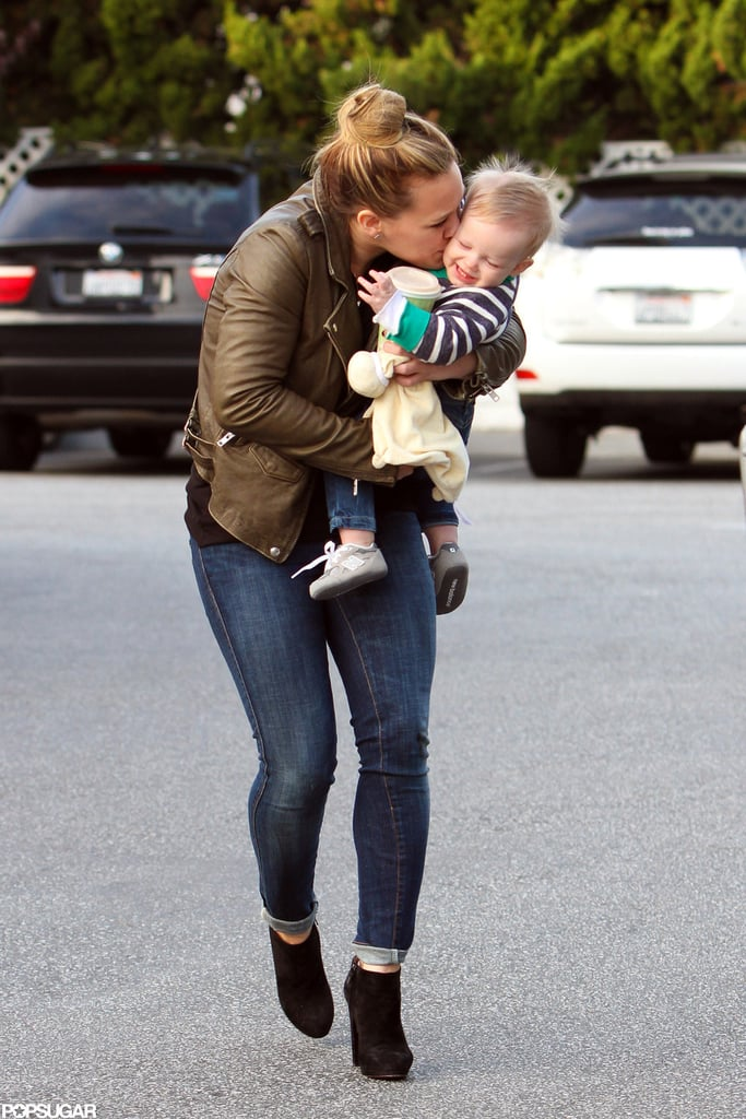 Hilary Duff gave her little boy a kiss.