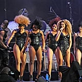 Beyoncé Knowles with her dancers at T in the Park.