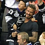 David Beckham enjoyed the LA Kings Stanley Cup final game in LA with son Cruz.