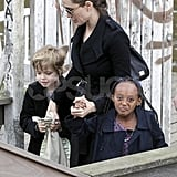 Angelina Jolie with Shiloh Jolie-Pitt and Zahara Jolie-Pitt in Amsterdam.