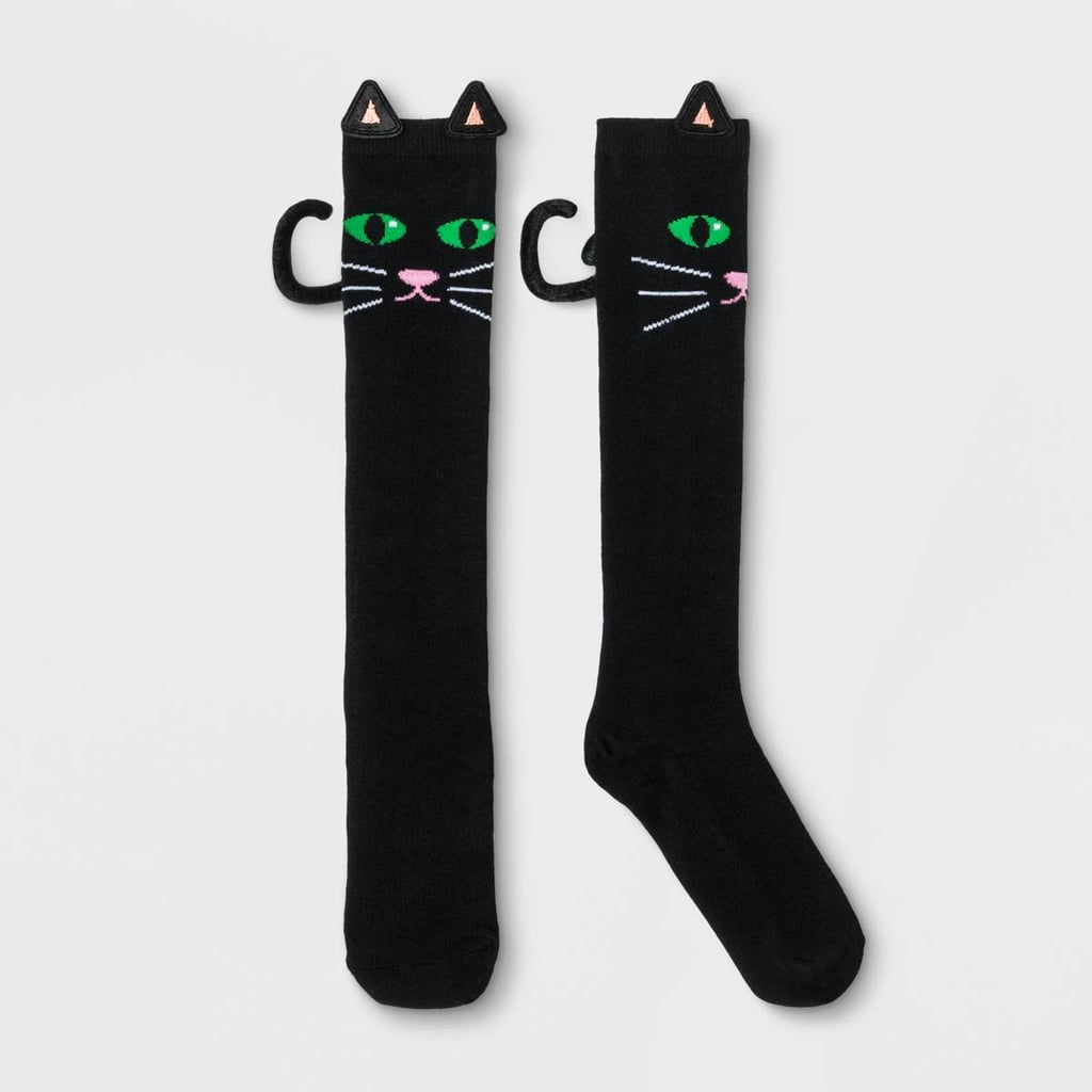 Bioworld 3D Black Cat Knee-High Socks