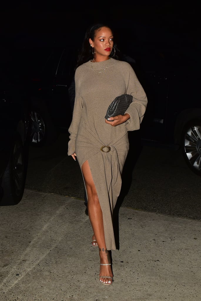 Rihanna's Sweater Dress Is Gorgeous, but Her Embellished Heels Are What Dreams Are Made Of