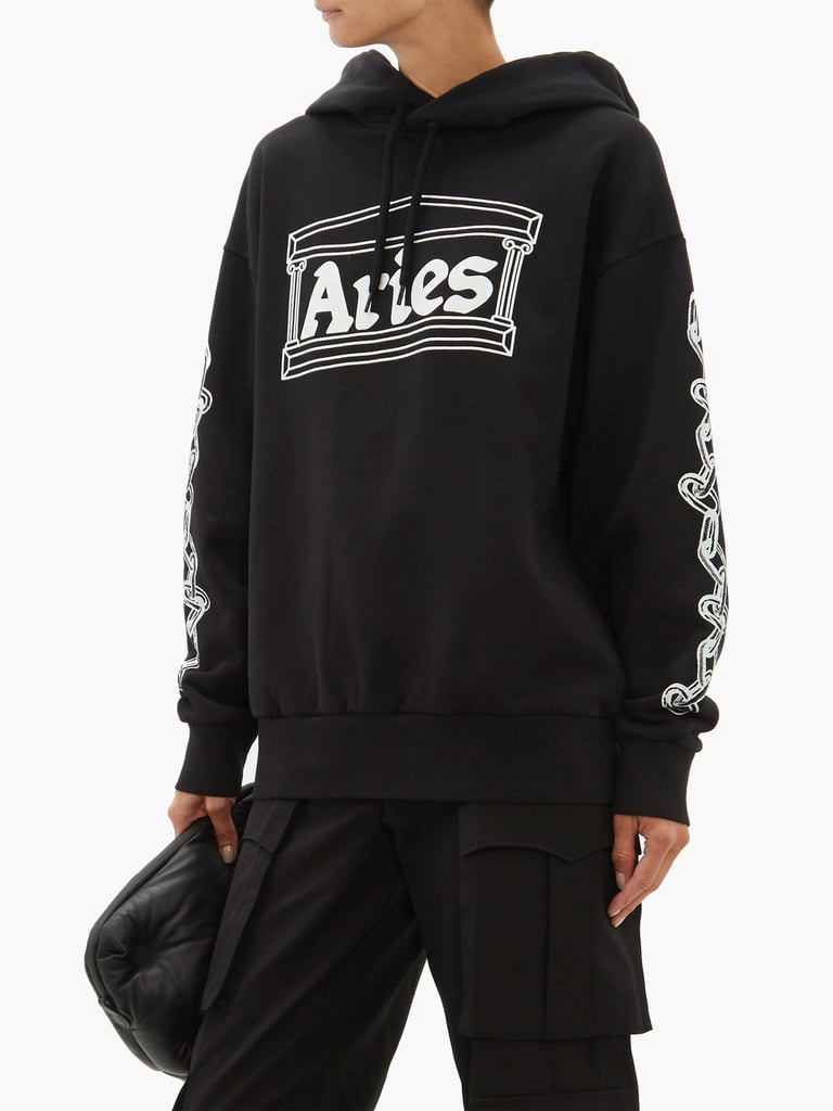 Aries Logo-Print Cotton Hooded Sweatshirt