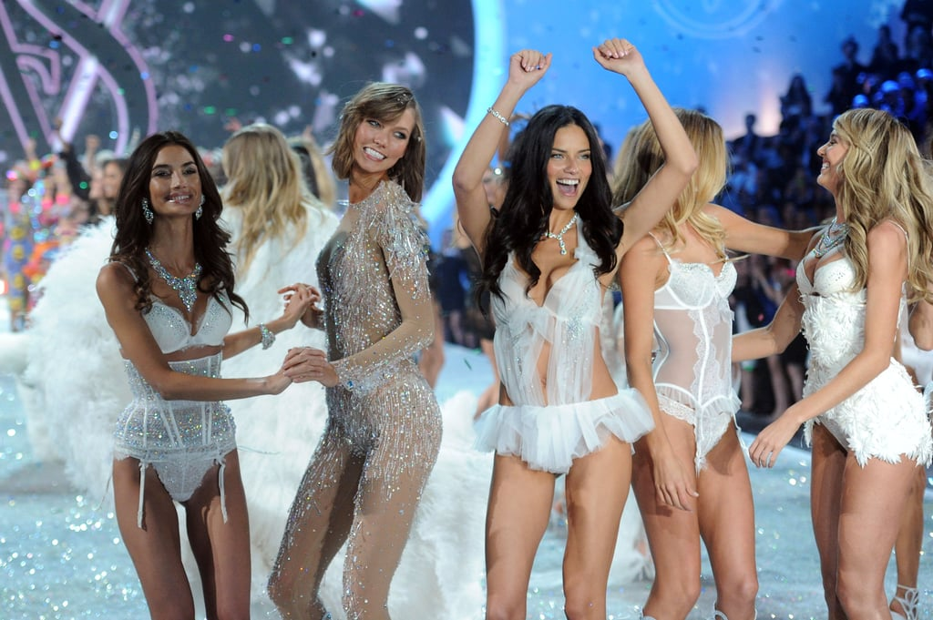 Adriana Lima, Doutzen Kroes, Lily Aldridge, Karlie Kloss, and Candice Swanepoel had a party on the stage in 2013.