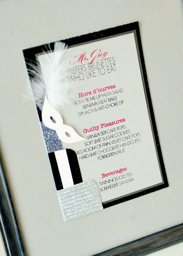 The Menus Fifty Shades Of Grey Bachelorette Party Popsugar Love