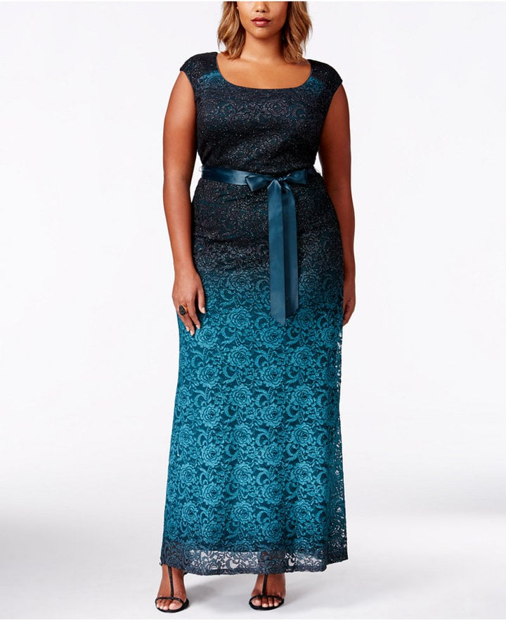 057b00e9844 R   M Richards Plus Size Sleeveless Ombre-Lace Evening Gown