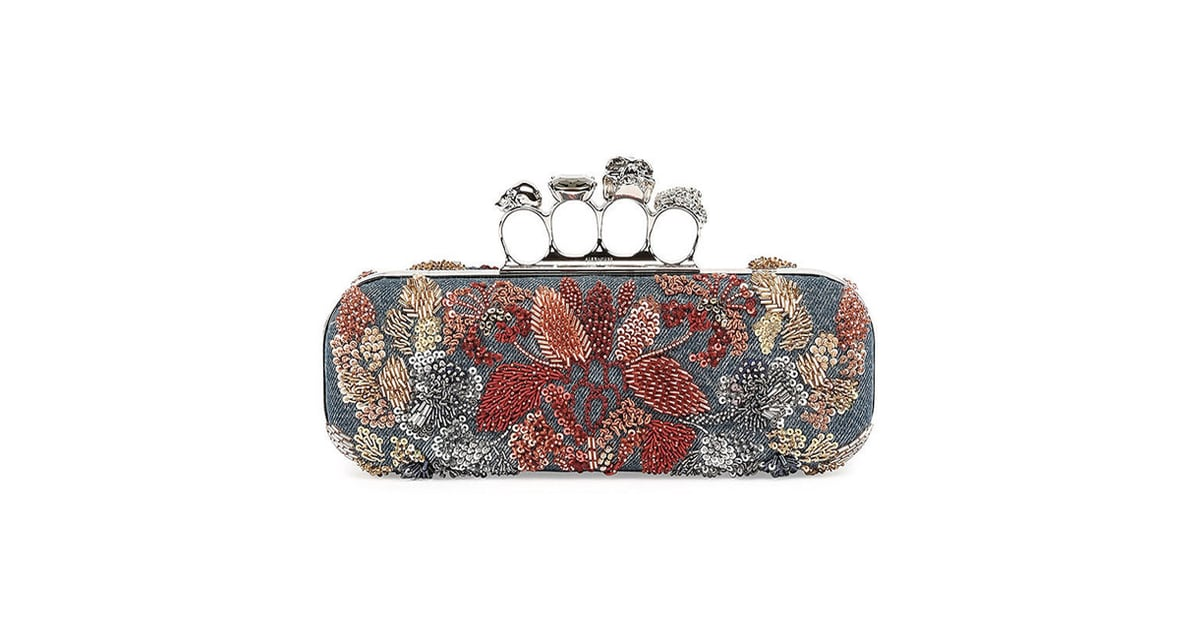 13ac8ac5ef95d Alexander McQueen Knuckle Duster w/Floral Embroidery Denim Box Clutch | The  Hottest Spring Handbag Trends to Know Now | POPSUGAR Fashion Photo 40