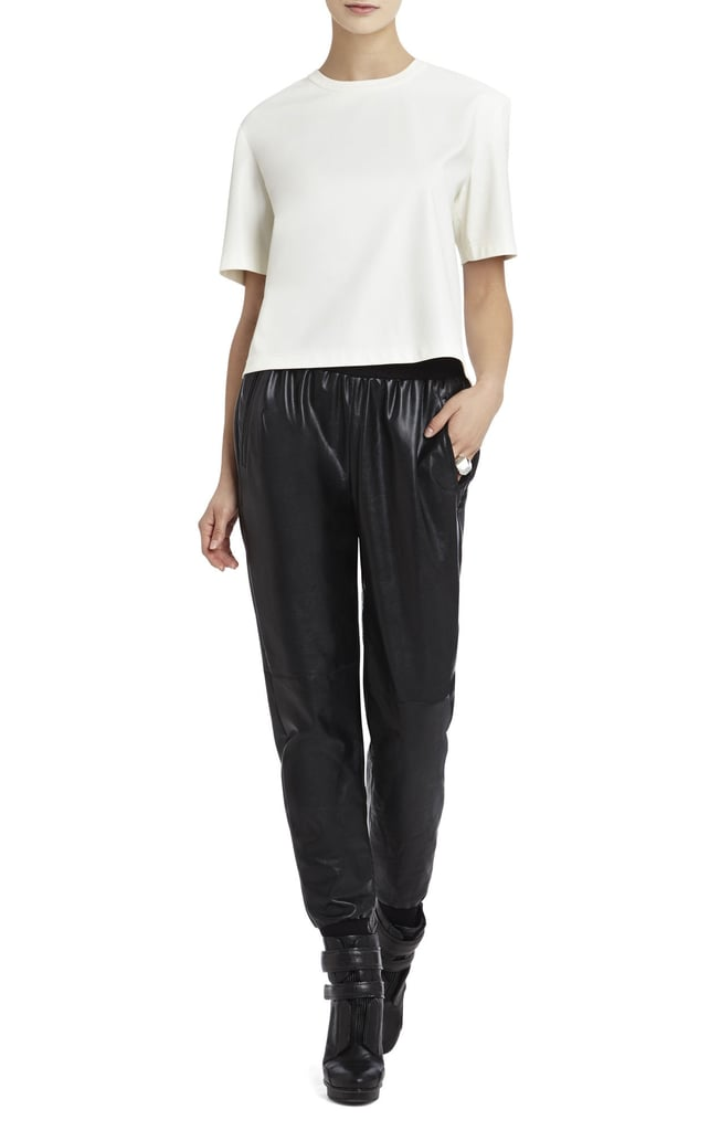 BCBG Faux Leather Tee