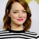 Emma Stone was fresh faced at Monday's Academy Awards Nominees Luncheon in LA.