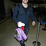 Matt Damon carried his daughter's backpack at LAX on Saturday.