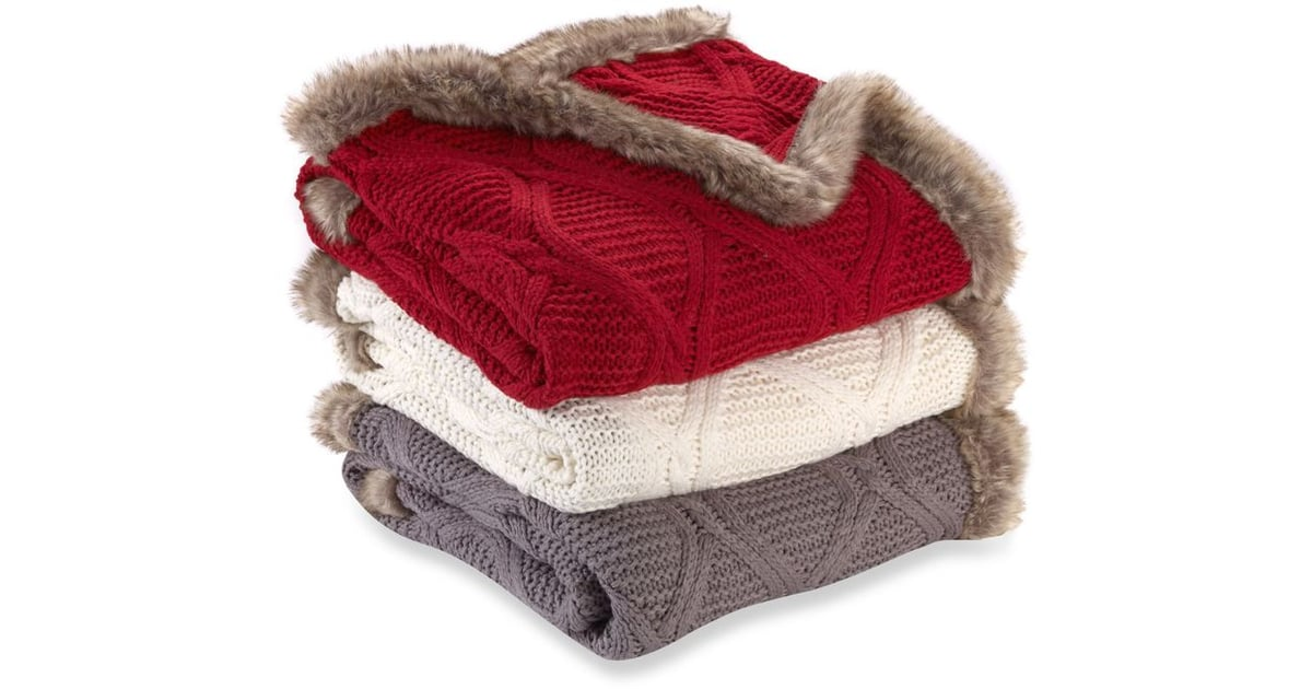 Faux Fur Trimmed Buffalo Plaid Cable Knit Throw Blanket