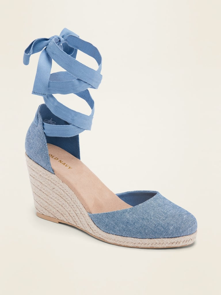 Textile Lace-Up Espadrille Wedge Shoes for Women