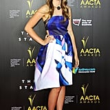 Puberty Blues star Brenna Harding's Sara Phillips frock was one of the brightest looks on the red carpet. The combination of bright, blue print and A-line silhouette was a playful choice.
