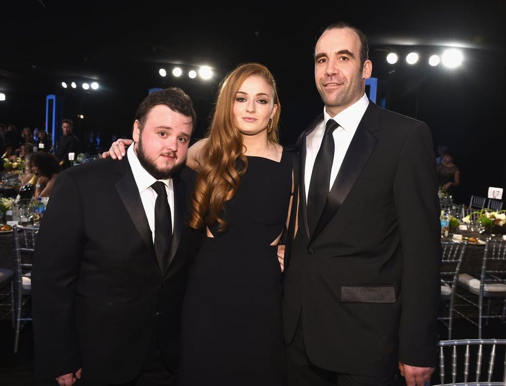 "John Bradley (Samwell Tarly), Sophie Turner (Sansa Stark), and Rory McCann (Sandor ""The Hound"" Clegane)"