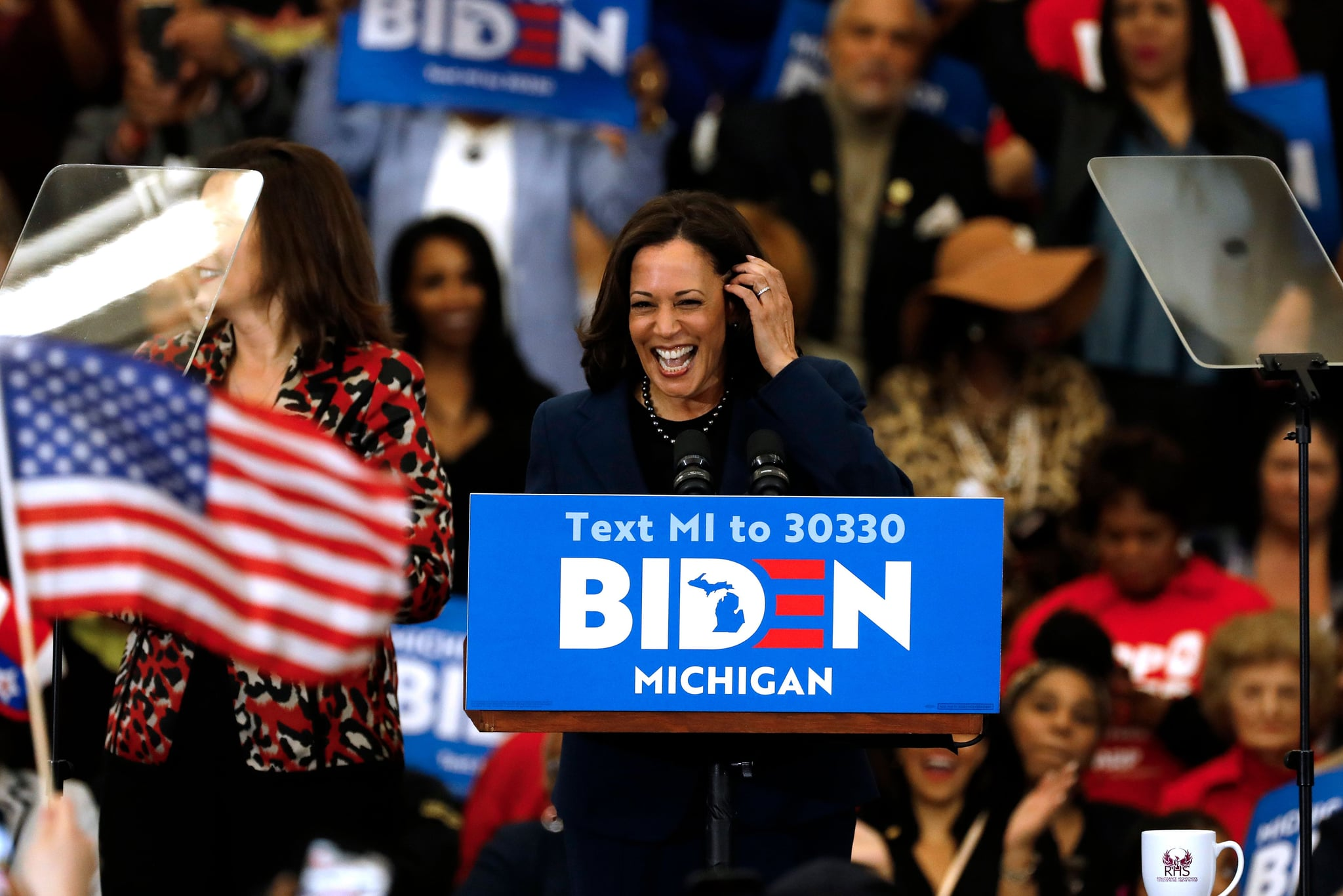 California Senator Kamala Harris endorses Democratic presidential candidate former Vice President Joe Biden as she speaks to supporters during a campaign rally at Renaissance High School in Detroit, Michigan on March 9, 2020. (Photo by JEFF KOWALSKY / AFP) (Photo by JEFF KOWALSKY/AFP via Getty Images)