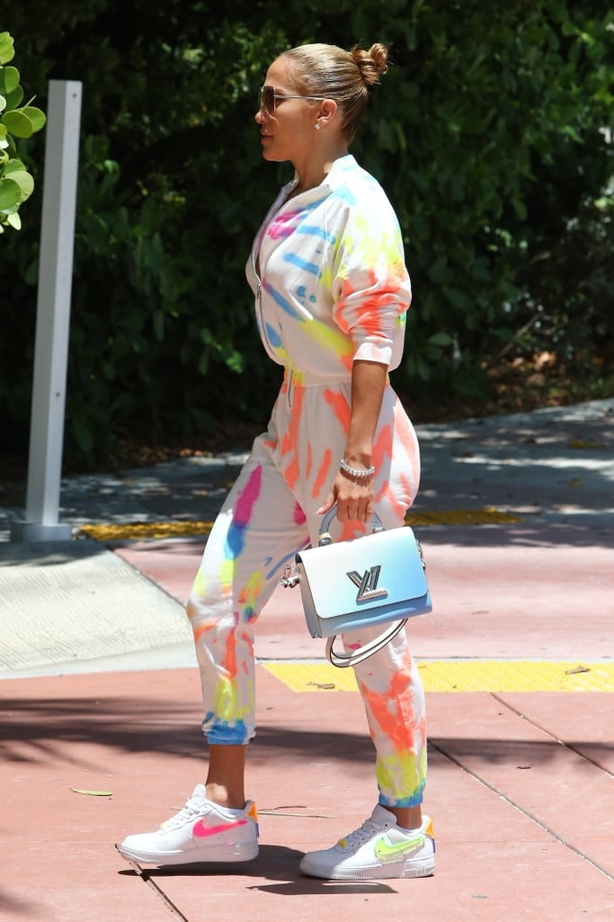 Jennifer Lopez Styled Her Tie-Dye Jumpsuit With Neon Nikes