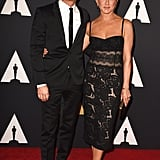 Justin Theroux and Jennifer Aniston matched in black ensembles on the red carpet at the Governors Awards.