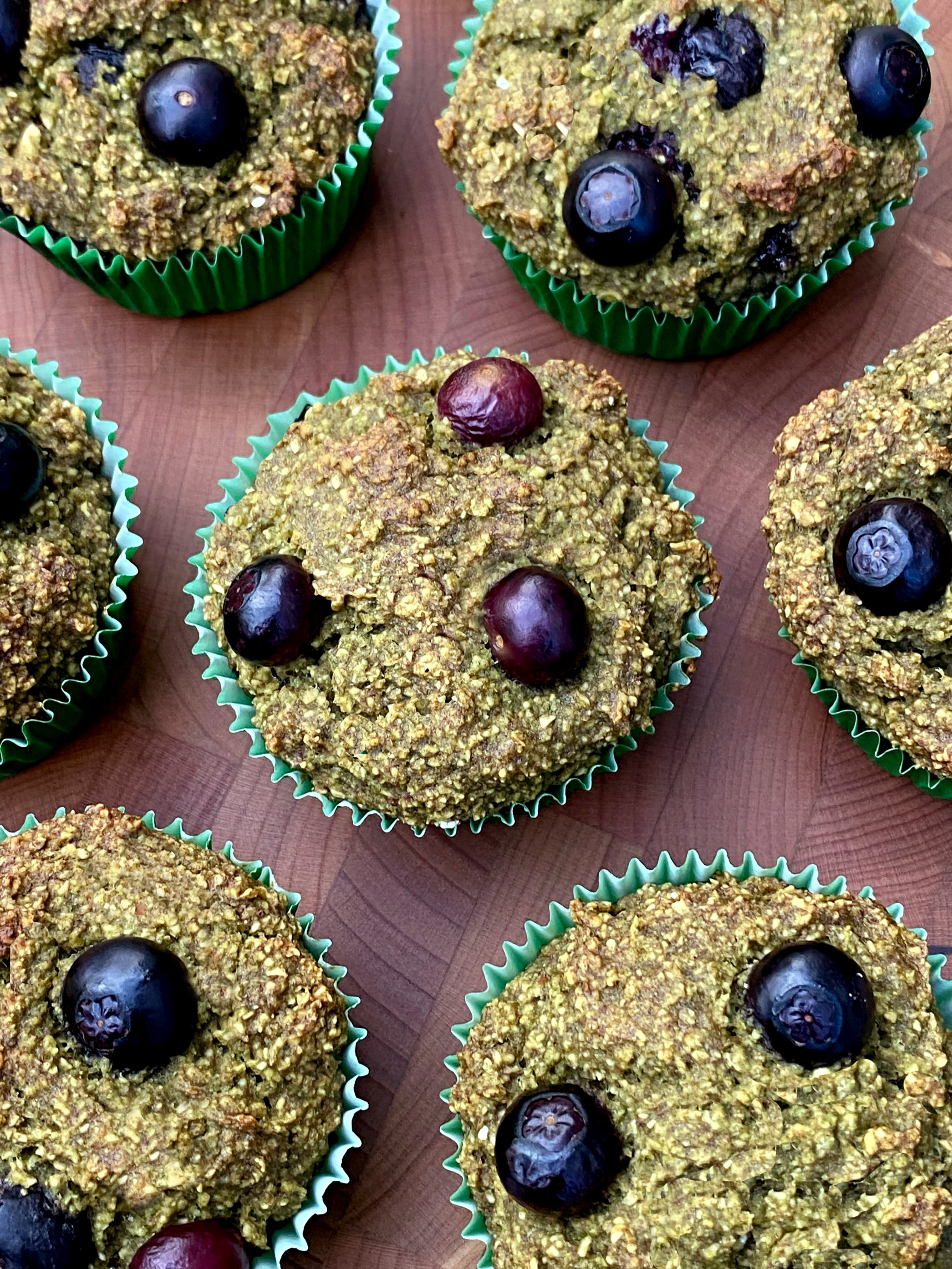 Refined-Sugar-Free Banana Blueberry Spinach Muffins 9