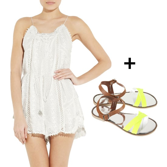 It doesn't get much cuter than a sweet lacy playsuit and leather sandals with a cool pop of neon. Add a floppy hat to this look and you're set. Get the look:  Zimmermann Devoted Broderie Anglaise Cotton Playsuit ($395) Topshop Fluoro Metallic Sandals ($80)
