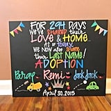 A Hand-Painted Adoption Day Sign
