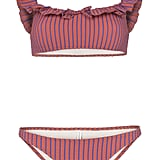 Solid & Striped Off the Shoulder Ruffle Bikini Top and Striped Bikini Bottoms