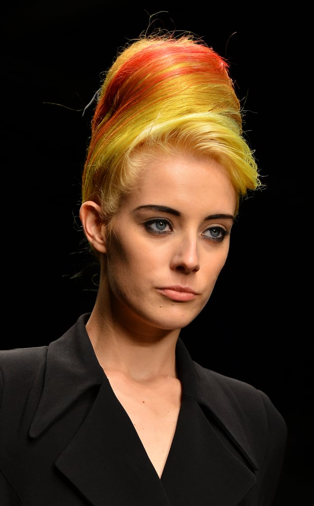 Chloe Norgaard's famous multicolored hair lent itself perfectly to the '80s-meets-'60s beehives at the Fall 2013 PPQ show.