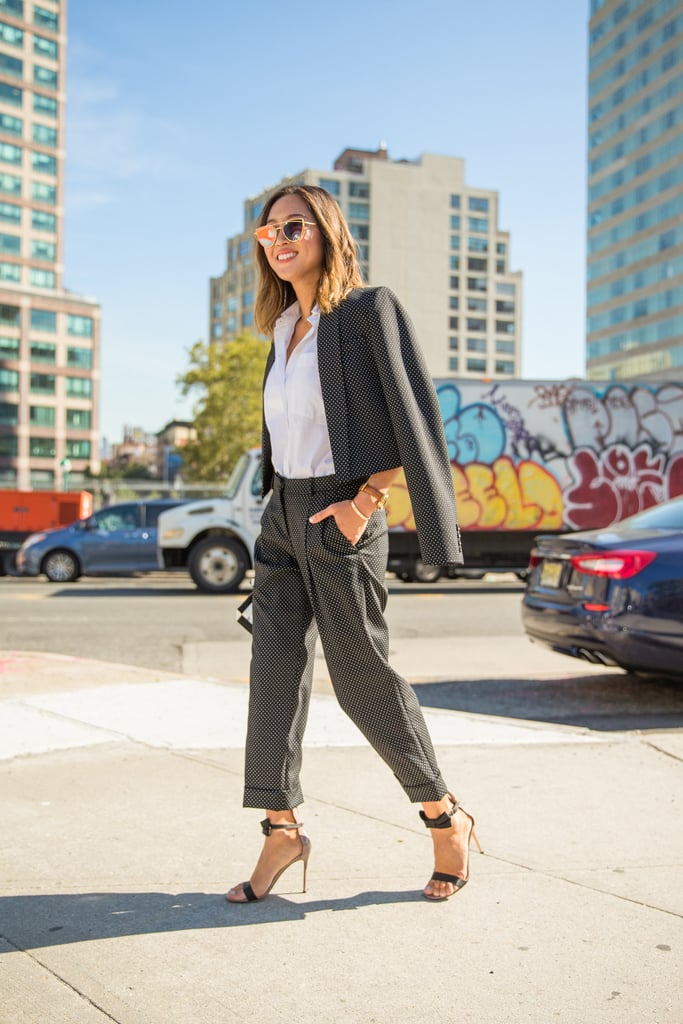 A Tailored Suit Lightened Up by Open-Toed Heels and Mirrored Sunglasses