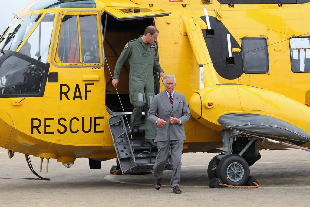 Prince William and Prince Charles stepped down from the helicopter after checking out the interior.