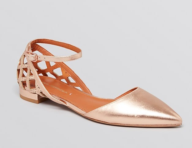 Via Spiga rose gold ankle-strap flats ($185)