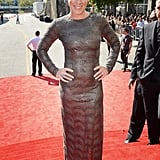 Pink rocked a long-sleeved dress.