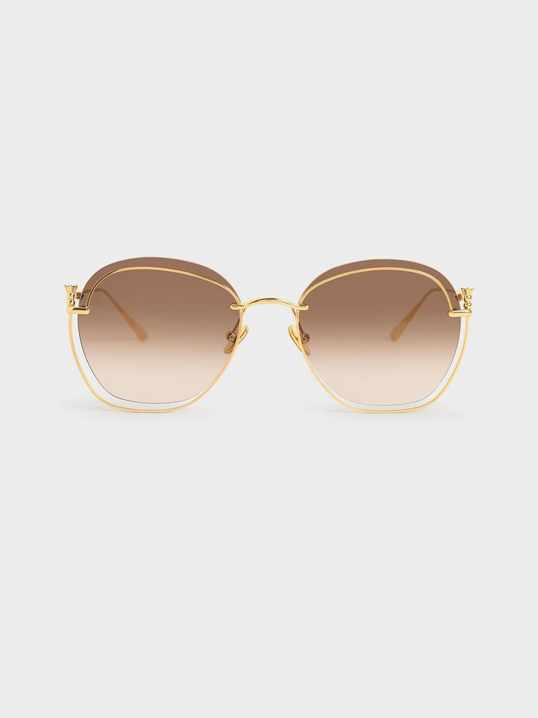Charles & Keith Gold Cutout Butterfly Sunglasses