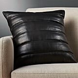 Renata: Izzy Black Leather Pillow With Down-Alternative Insert