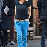 Sienna Miller wore blue pants in NYC.