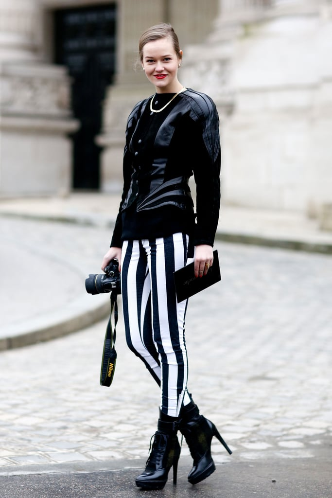 Bold stripes on bottom got a street-sensible twist with tough-girl ankle boots and a leather top.