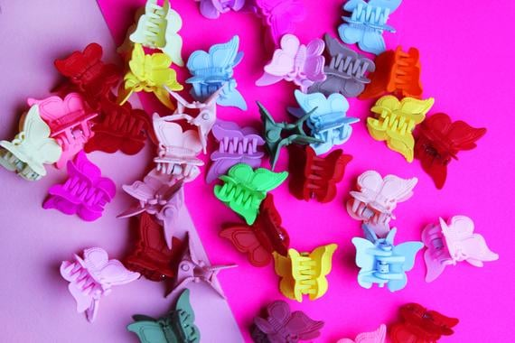 Etsy Mixed Colours x6 90s Butterfly Hair Clips