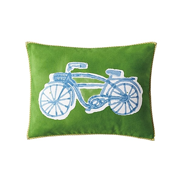 The whimsical look and craftsmanship of the block-printed and hand-painted bicycle pillow ($58) makes it an extraspecial piece.