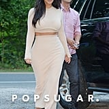 Kim Kardashian showed some skin when she stepped out for a Thursday lunch with BFF Jonathan Cheban in Southampton, NY, on Thursday.