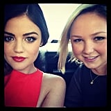 Lucy Hale arrived with a pal.  Source: Instagram user lucyhale89