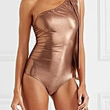Lisa Marie Fernandez Arden Metallic One Shoulder Ruched Swimsuit