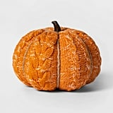 Knit Orange Pumpkin Halloween Decoration in Medium