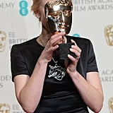 Cate Blanchett had some fun with her BAFTA Awards trophy after winning the best actress category.