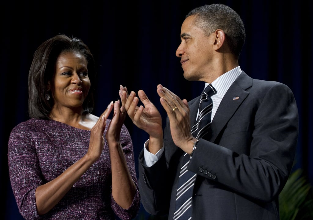 The first couple shared a look during the National Prayer Breakfast in February.