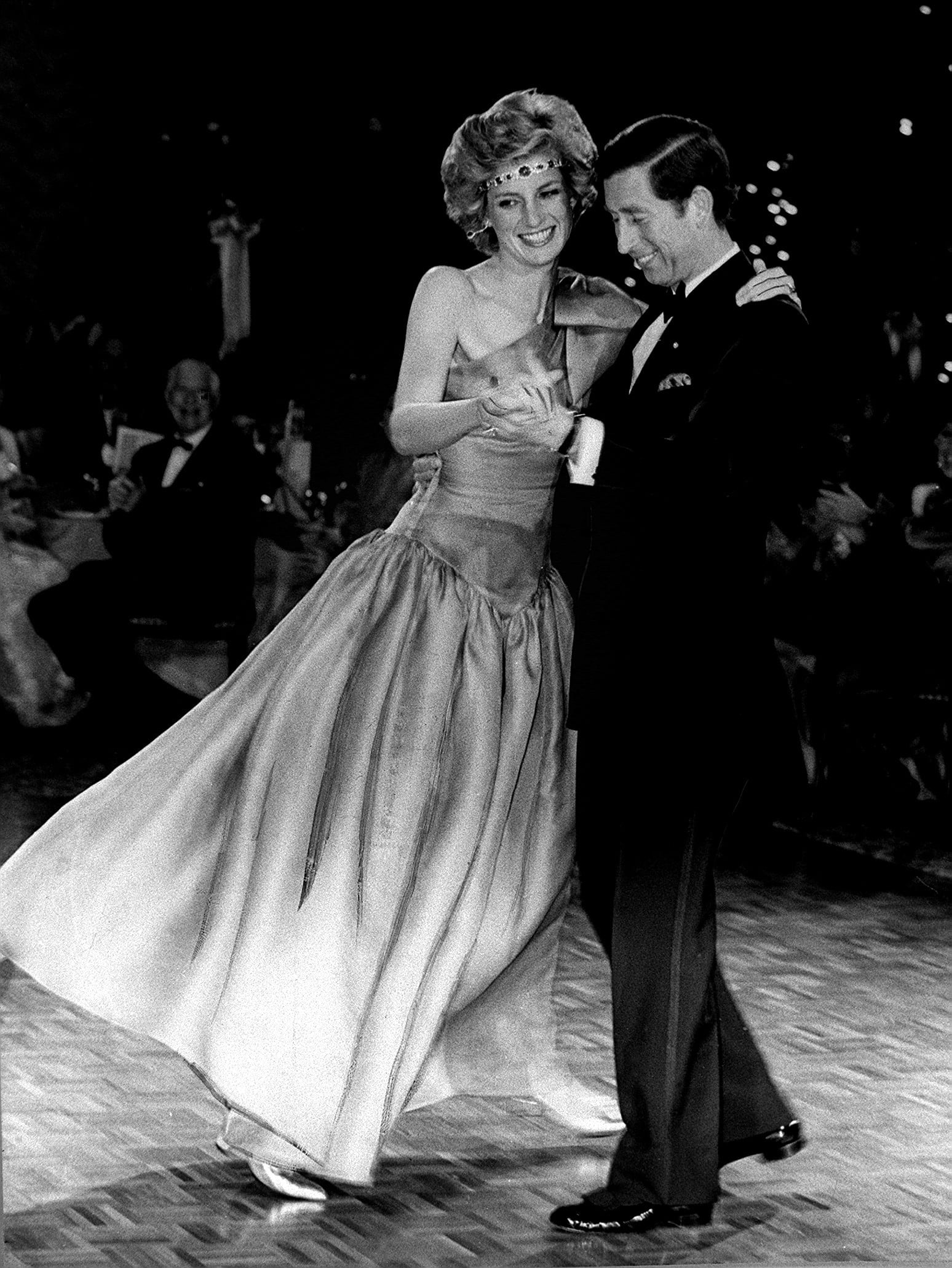 Princess Diana and Prince Charles dancing together in Melbourne Australia in 1985. Diana is wearing the famous £2 million emerald and diamond choker. 30th October 1985. (Photo by Gavin Kent /Mirrorpix/Getty Images)