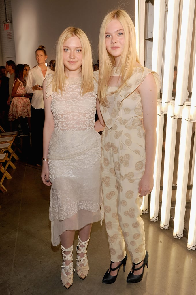 Sister duo Elle and Dakota Fanning stepped out in Rodarte for the Spring 2012 show.