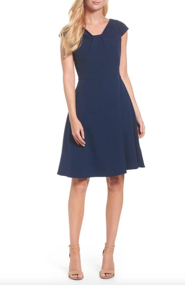 Adrianna Papell Drape Neck Fit & Flare Dress | Kate Middleton\'s Blue ...