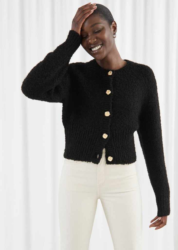 Bouclé Knit Cropped Cardigan
