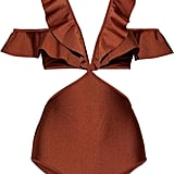 Zimmermann Bronze Tali Flutter Cold-Shoulder Cutout Swimsuit