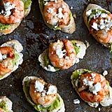 Guacamole and Spiced Shrimp Crostini