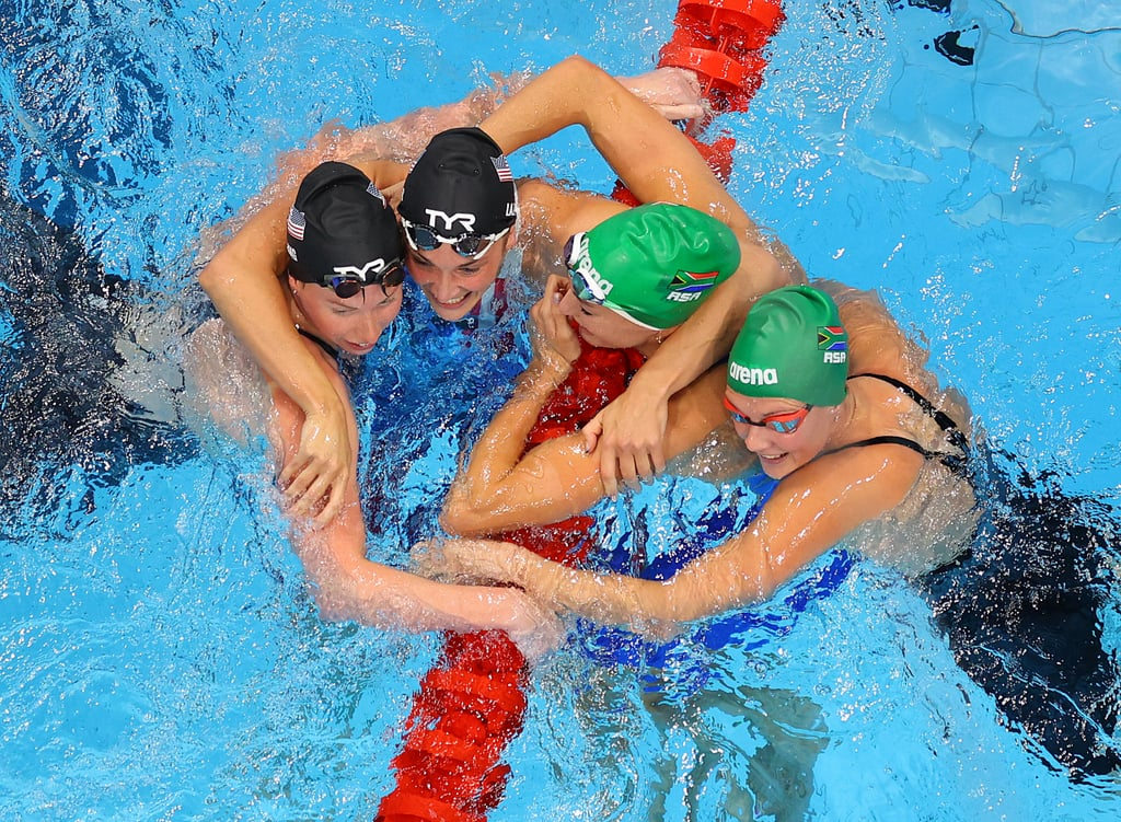 Swimmers Celebrate After the Women's 200m Breaststroke Final at the 2021 Olympics