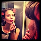 Karlie Kloss did her hair and makeup before heading out for FNO.  Source: Instagram user karliekloss
